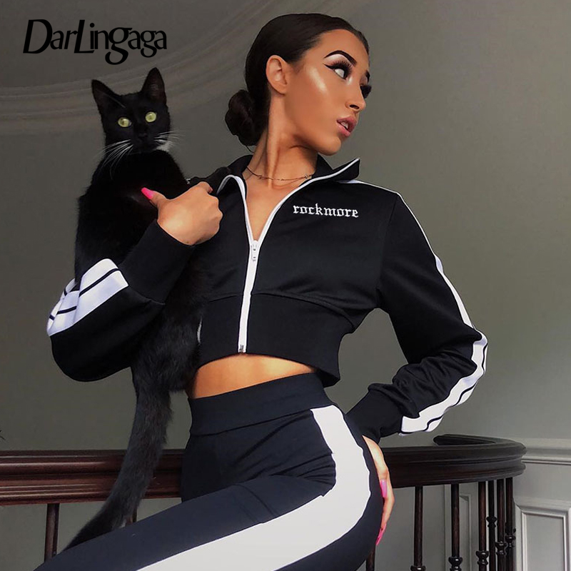 Darlingaga Casual high neck autumn   jacket   women zipper embroidery side stripe bomber   jacket   coat outwear 2019 crop   basic     jackets
