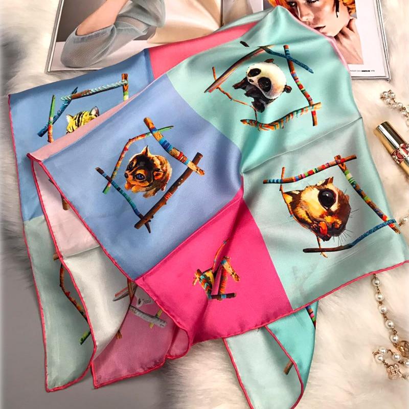 65x65cm Cute Animals Prints Square Silk   Scarf   Bandana Neckerchief 100% Silk Twill Scarfs   Wraps   Ladies Fashion Head   Scarves