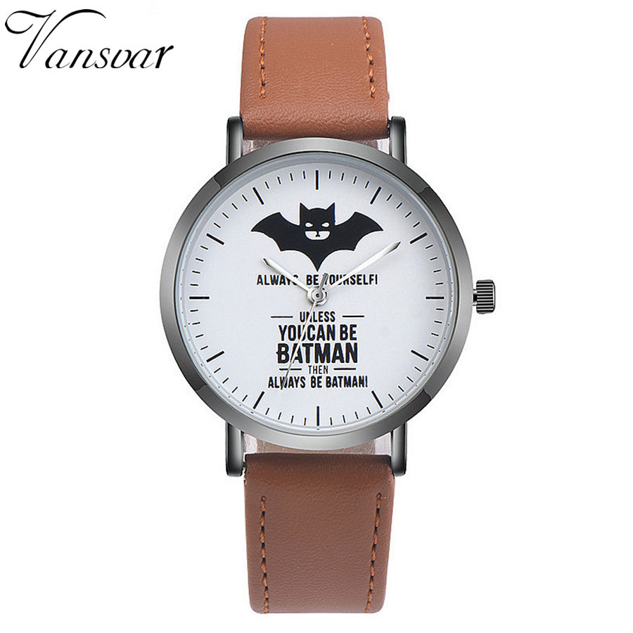 Fashion Leather Batman Watch Casual Women Wrist Quartz Watches Relogio Feminino Drop Shipping