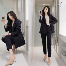 Two-piece casual suit set double-breasted new temperament co