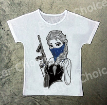 c5594848ba91 Track Ship+Vintage Retro Cool T-shirt Top Tee Tattoo Gangster Mask Ice  Queen Girl Girl with Gun 1458