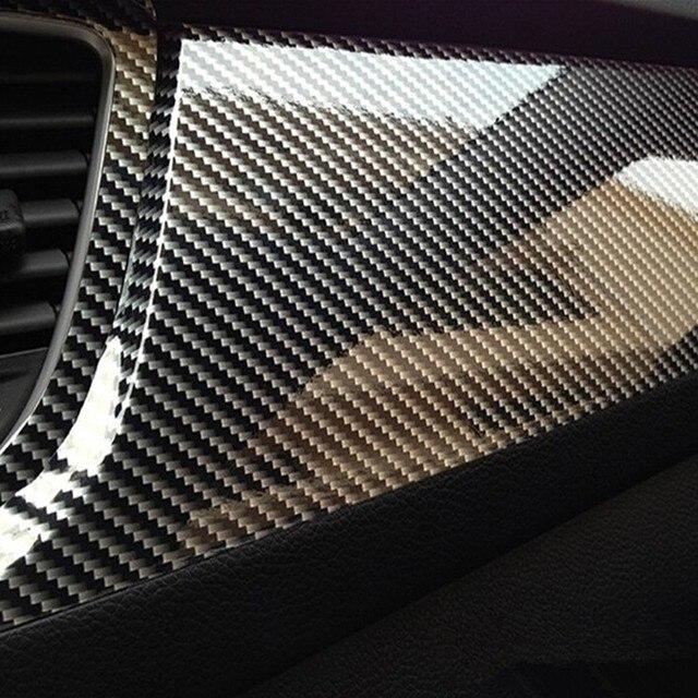10x152 cm 5D película de vinilo de fibra de carbono de alto brillo para el diseño del coche de la motocicleta accesorios de diseño Interior de carbono fibra de película