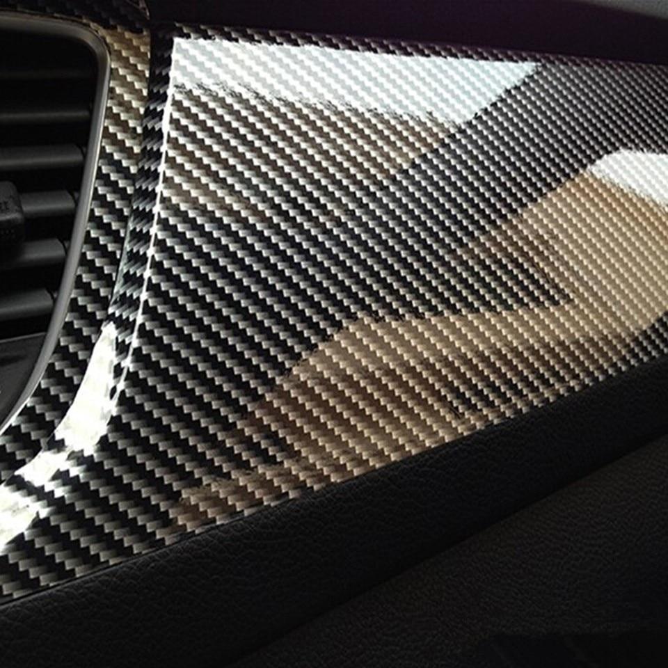 "5D Car DIY Sticker Carbon Fiber Vinyl 24x60/"" Ultra Shiny Gloss Glossy Wrap Black"