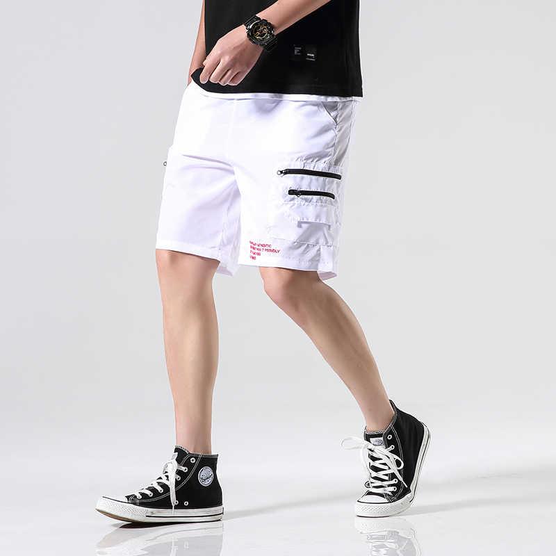 2020 Nieuwe Mannen Streetwear Joggers Shorts Hip Hop Mens Harajuku Rits Shorts Summer Man Casual Elastische Taille Zweet Shorts