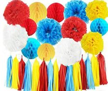 Carnival Party Supplies Curious George Birthday/Carnival Birthday Party Ideas Tissue Pom Pom Honeycomb Ball Turquoise Red Yellow(China)