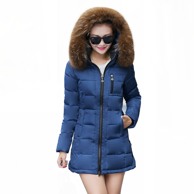 Women Winter Jacket 2016 New Female Slim Down Cotton Jacket Women Hooded Faux Fur Collar Thick Warm Long Coat Plus Size W026
