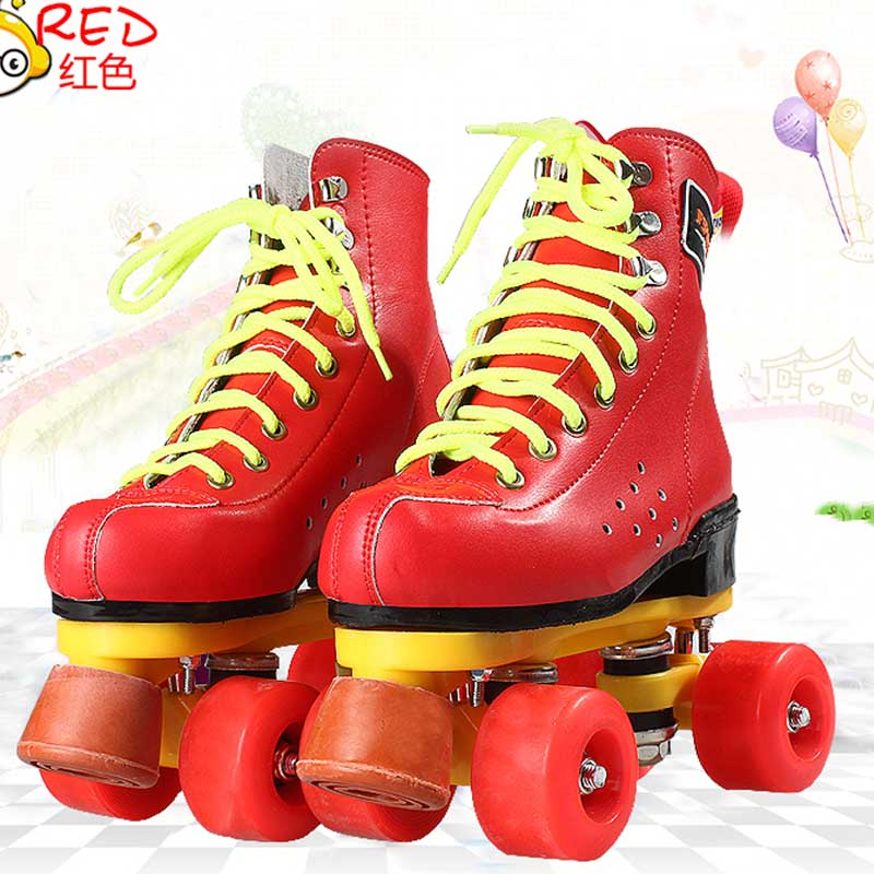 EUR size 32-37JF Roller Skates Double Line Skates Red With Red Wheels Girl Child F1 Racing 4 Wheels Two line Roller Skate Shoes children roller sneaker with one wheel led lighted flashing roller skates kids boy girl shoes zapatillas con ruedas