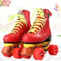 EUR size 32-37JF Roller Skates Double Line Skates Red With Red Wheels Girl Child F1 Racing 4 Wheels Two line Roller Skate Shoes