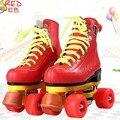EUR tamaño 32-37JF Línea Doble Patines Patines Rojo Con Rojo Carreras de F1 4 Ruedas ruedas Niña Dos línea Del Patín de ruedas zapatos