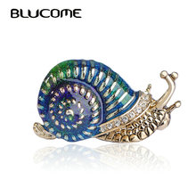 Blucome Blue Green Enamel Snail Brooch Gold-color Alloy Insect Brooches For Scarf Sweater Corsage Accessories Kids Men Women Pin
