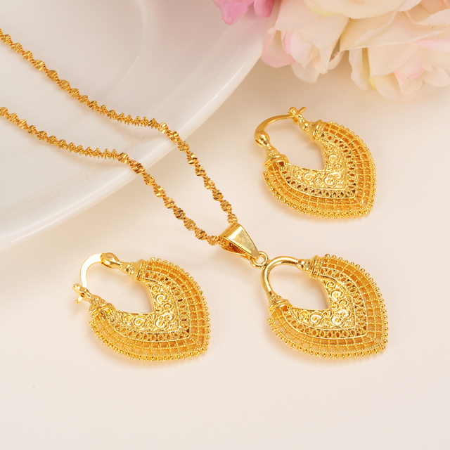 Dubai India Gold Women wedding gfirls  Necklace Earrings Pendant Jewelry Sets Nigerian African Ethiopia Party DIY charms gift