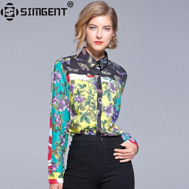 Simgent Ladies Office Shirts Chiffon Fashion Printing Casual Basic Women's Blouses and Shirts Tops Blusas Gasa Mujer SG87254