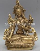 P+D+T+66 Tibet Tibetan Buddhism Brass White Tara spirit of Compassion Goddess Statue
