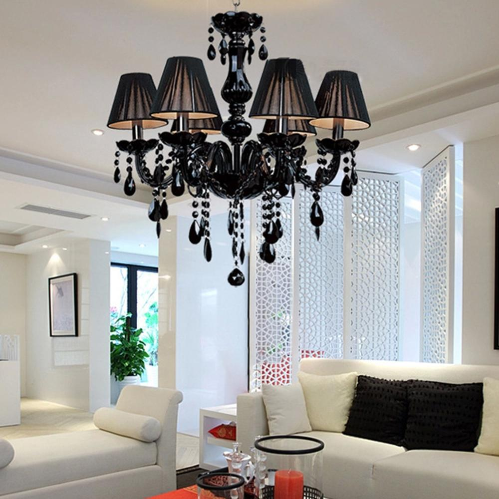 Black modern crystal chandelier e14 candle holder novelty classic black modern crystal chandelier e14 candle holder novelty classic luxury chandelier wedding decorative light lighting fixtures in chandeliers from lights arubaitofo Image collections