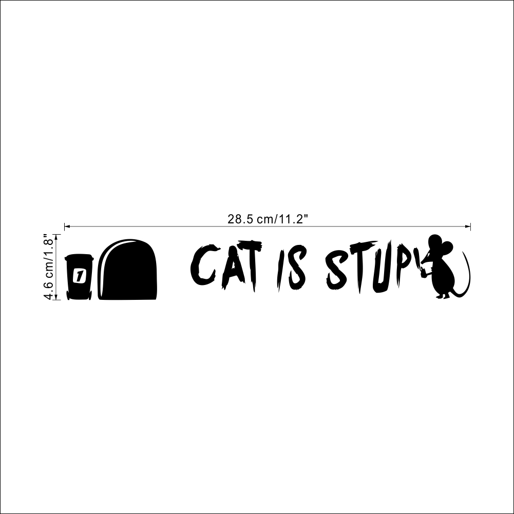Cat Is Stupid Quotes Funny Mouse Holes Decorative Wall Stickers Nursery Children Room Decoration Vinyl Diy Art Living Room Decal in Wall Stickers from Home Garden