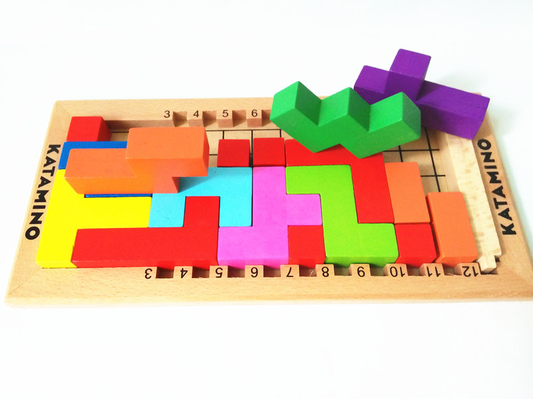 New Arrival Beech Wood Tetris blocks Educational Baby Toys Montessori Katamino Building Blocks Children IQ challenge Gift