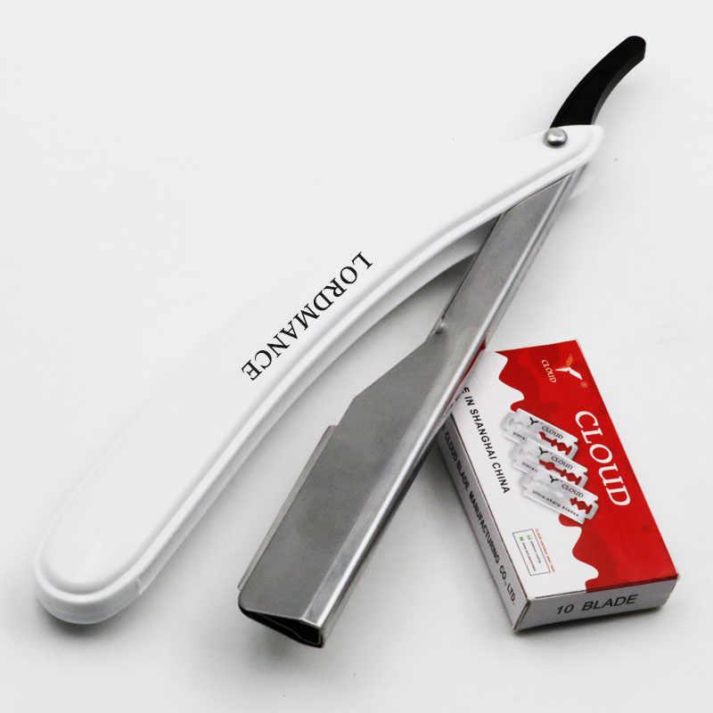 1 세트 남자/여자 스트레이트 이발사 가장자리 면도기 접는 면도 칼 머리 제거 도구 10 pcs 블레이드