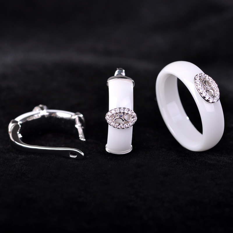 Classy Rhinestone CZ Zircon Ring font b Earrings b font Set White Ceramic Chinese Style Chic