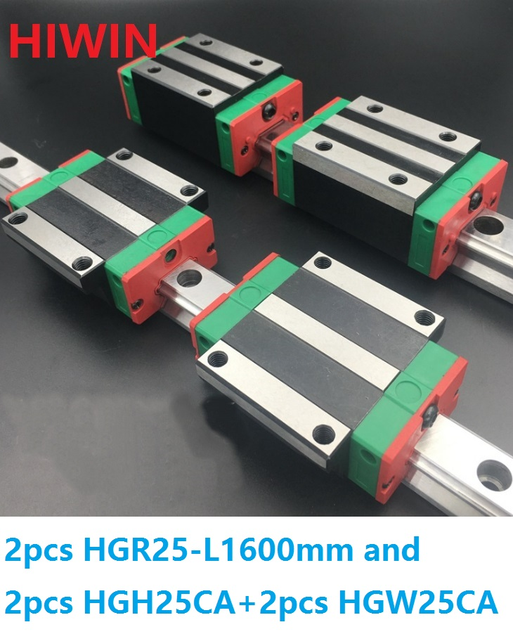 2pcs 100% original Hiwin linear guide linear rail HGR25 -L 1600mm + 2pcs HGH25CA and 2pcs HGW25CA/HGW25CC block for CNC hiwin taiwan made 2pcs hgr25 l 600 mm linear guide rail with 4pcs hgh25ca or hgw25ca narrow sliding block cnc part