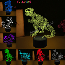 Funny 3D Visual LED Dinosaur Shape Night Lamp LED Colorful Table Lamp as Kids Room Decorations & Child  Toys Gifts funny 3d led little racoon night lamp led usb power table lamp as kids room sleeping lights