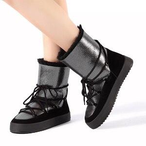 Image 4 - Botas de inverno sapatos mulher genuíno shearling snowboots preto branco azul 35 40 frete grátis bassiriana