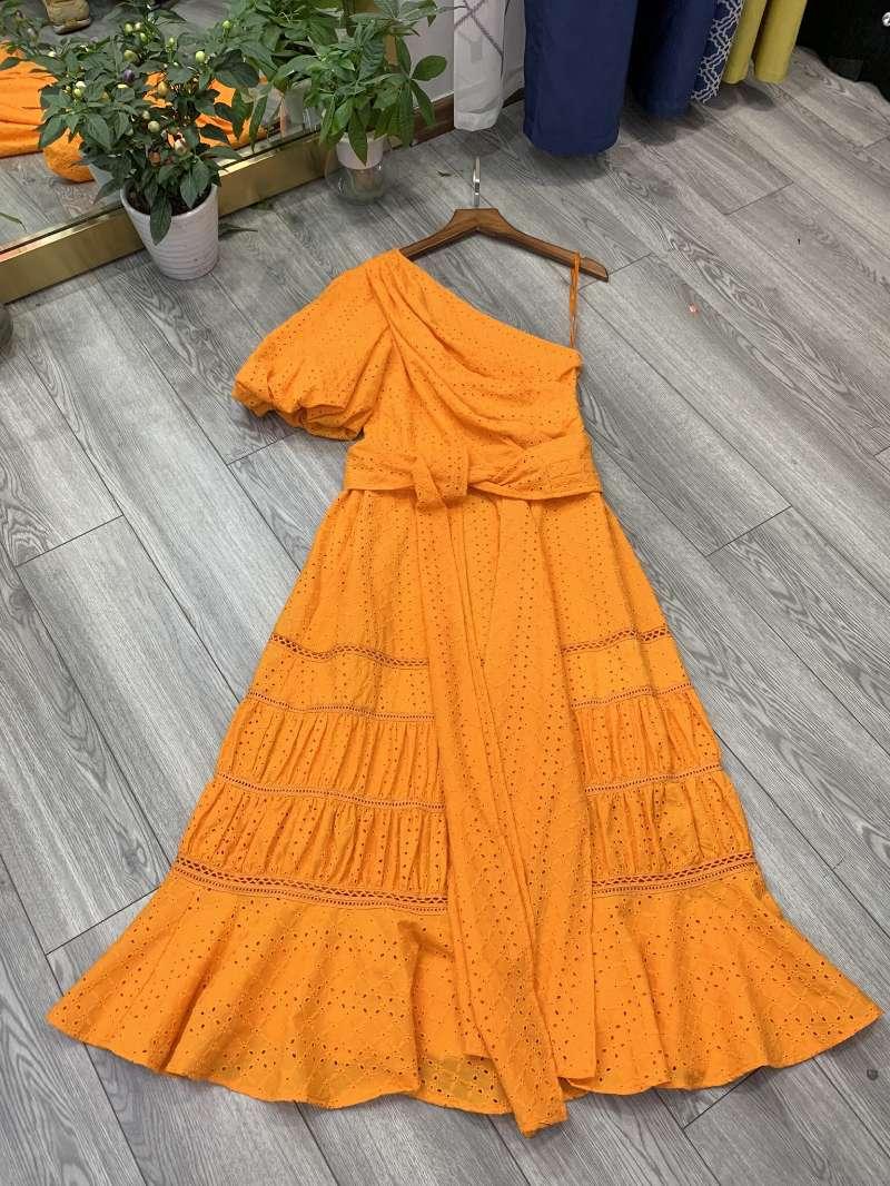 Femmes floral évider blanc été robe une épaule lanterne manches club sexy robes volants ourlet sirène nouveau 2019 orange xl