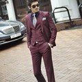 (Jacket+Pants+vest) Men Vintage Wedding Bridegroom pure-color Suits Slim Classic Business Party Formal Suits With Pants