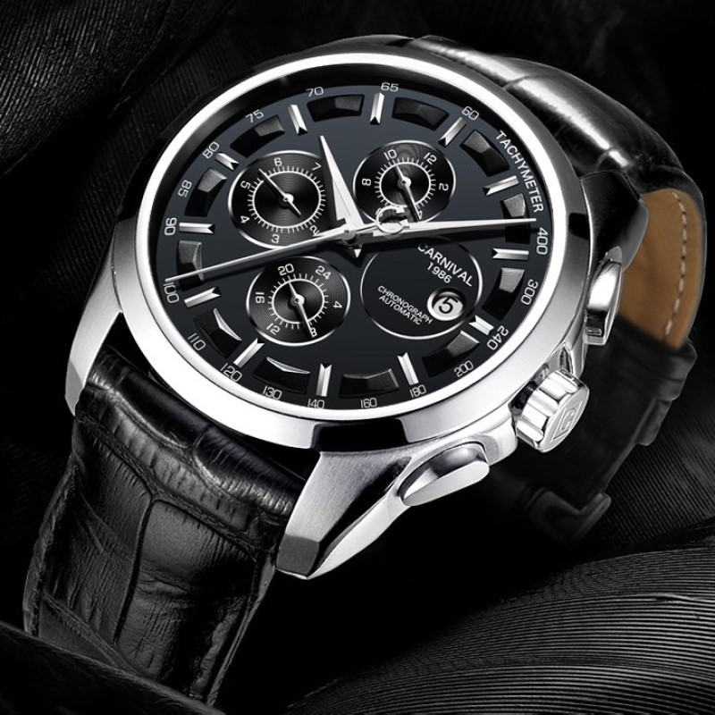 Multifunction Automatic Watch Men Luxury brand CARNIVAL Mechanical Watches Calendar Week 24hour Luminous Waterproof Montre homme