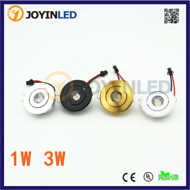 Factory Dimmable LED Mini Spot Recessed Ceiling Downlight 3W White Black Silver Gold Cabinet Lamp Include Driver