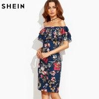 SHEIN Vestido de Verão 2017 Roupa Das Mulheres de Manga Curta Multicolor Print Floral Fora Do Ombro Plissado Bainha Vestido