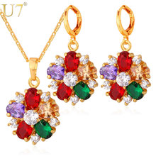 U7 Cubic Zirconia Indian Jewelry Sets For Women Gold Color Flower Colorful Crystal Earrings Necklace Set Women S680(China)