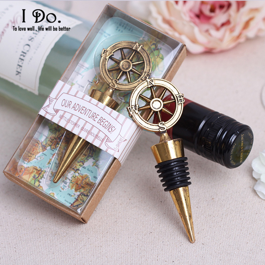 Wedding Souvenirs: Free Shipping Compass Wine Stopper Wedding Favors And