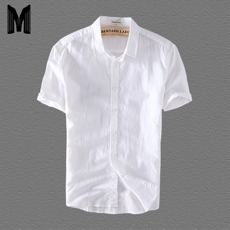 Linen Shirts Men Casual Short Sleeve 4XL Plus Size White Turn Down Collar Man Summer Hawaii Vacation Men's Shirt Y006
