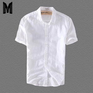 Men 4XL Casual Shirts Solid White Short Sleeve 45%Cotton 55%Linen Dress Shirts Y006