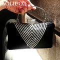 Famous Brand Women Wedding Evening Handbags Bridal Clutches Rhinestones Beaded PU Evening Shoulder Bag Crystals Beading Clutch