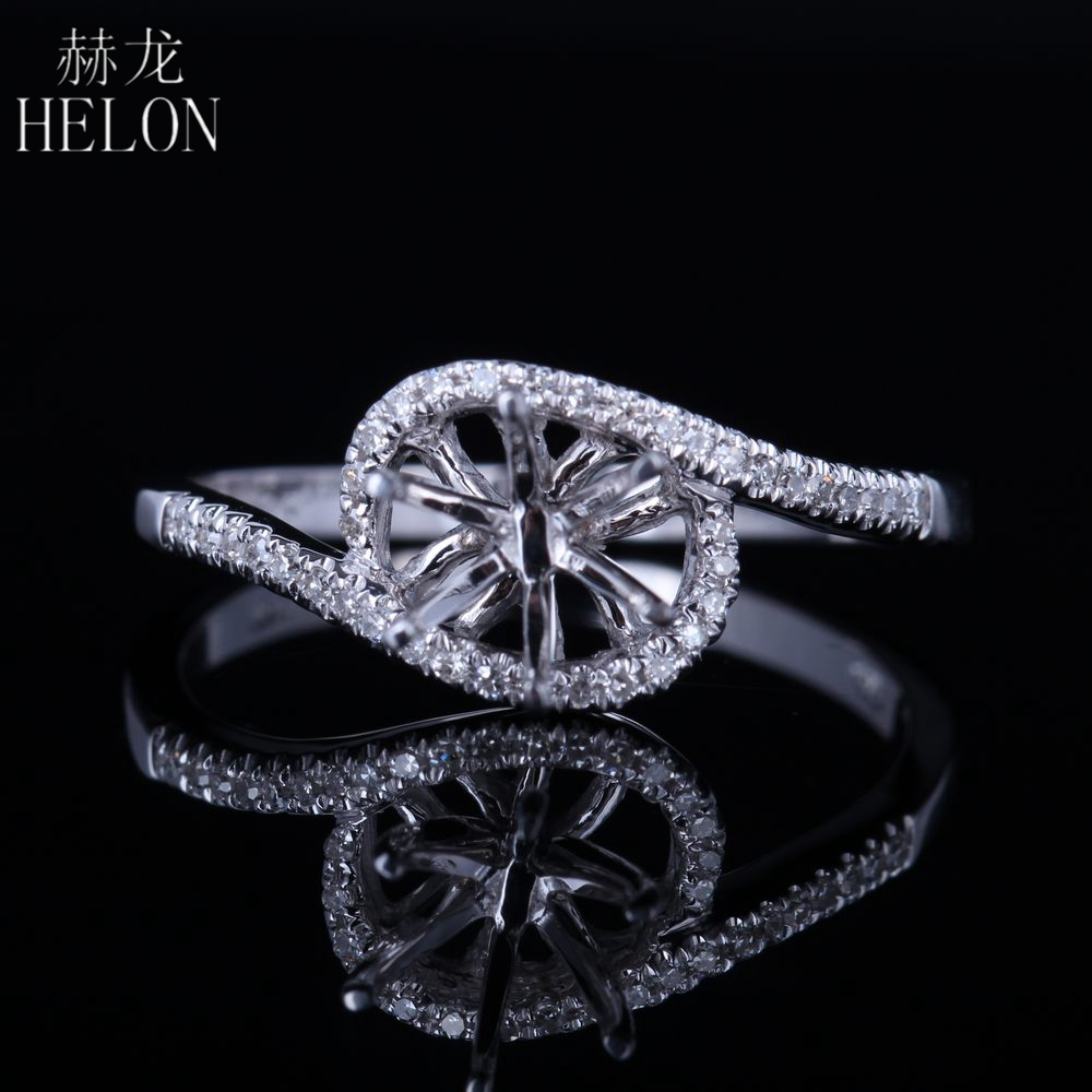 HELON Solid 14K White Gold Round Cut 6mm Engagement Anniversary Pave Natural Diamonds Semi Mount Wedding Women Fine Jewelry Ring helon solid 10k rose gold 6mm round cut semi mount engagement anniversary band pave natural diamonds wedding fine jewelry ring
