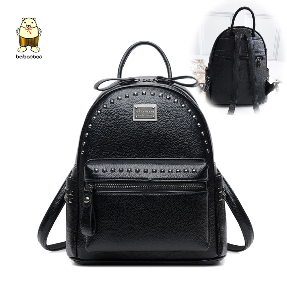 Beibaobao 2019 Women Fanshion Backpacks High Quality School Bags For Girls Work Lady's Bags Pu Leather Rivet Multi-use Bags