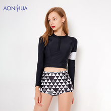 AONIHUA Two Piece Swimsuit Longf Sleeve Top Lattice Sext Short Pants Women Swimwear Sport Bathing Suit