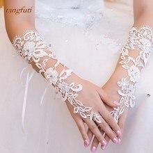 Кружевные Цветы Свадебные перчатки для невесты Кристаллы без пальцев длинные перчатки для невесты цвета слоновой кости женские свадебные аксессуары
