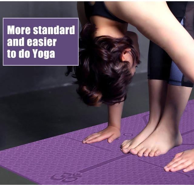 1830*610*6mm TPE Yoga Mat with Position Line Non Slip Carpet Mat For Beginner Environmental Fitness Gymnastics Mats 2