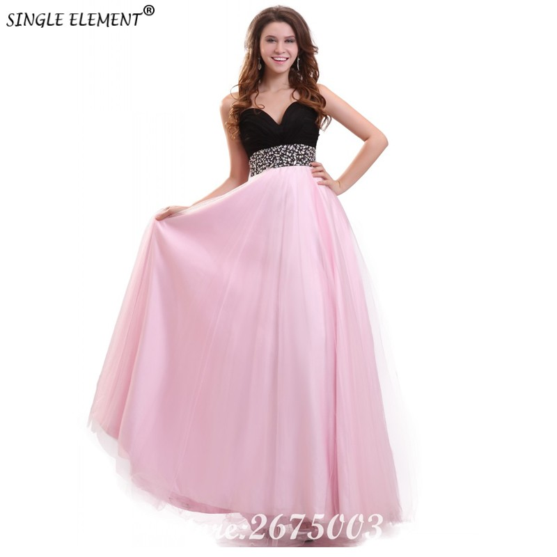 SINGLE ELEMENT Real Elegant Beaded Long Junior Pink Bridesmaid Dresses
