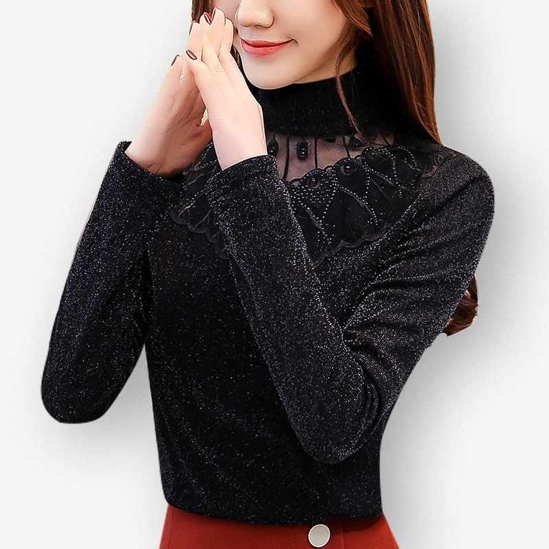 Otoño Invierno Camisetas básicas moda mujer manga larga Slim cuello alto Tops elegante señoras oficina trabajo Patchwork punto malla blusa