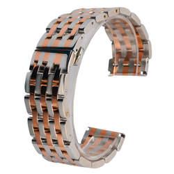 20 мм 22 мм часы Группа розовое золото и серебро soild Нержавеющаясталь ремешок для часов наручные часы заменить полосе Скрытая застежка + 2
