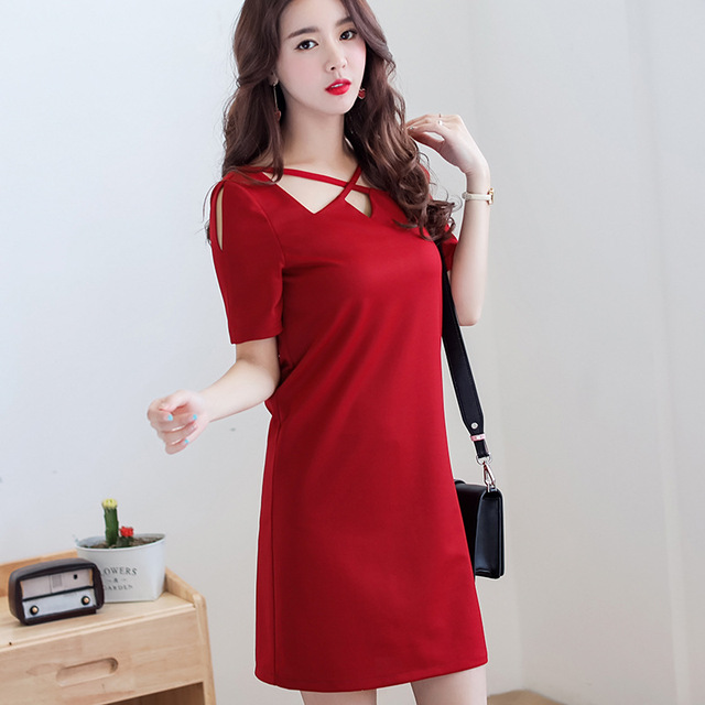 abf235ab7 Korean Dress Women clothing Summer Short Sleeve Hollow Out Patchwork Dress  Casual Dress O-Neck