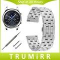 Faixa de relógio 22mm quick release para samsung gear s3 clássico fronteira 5 ponteiro cinta de aço inoxidável link pulseira de prata preto