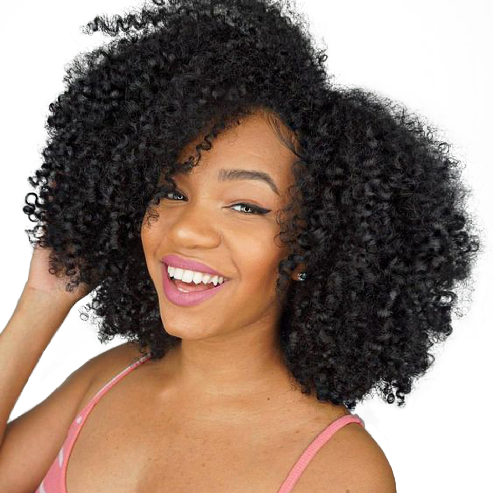 Μογγολικά μαλλιά Afro Kinky Σγουρά μαλλιά Επέκταση Ανθρώπινες τρίχες μαλλιών Weave 1 κομμάτι μπορούν να αγοράσουν 3/4 δέσμες Beauty Lueen Non Remy Hair