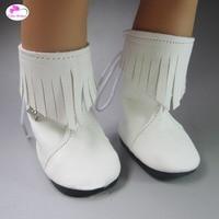 Оптовая продажа Белый Мода PU Ботинки для 18 дюймов 45 см American Girl и Zapf куклы baby born аксессуары