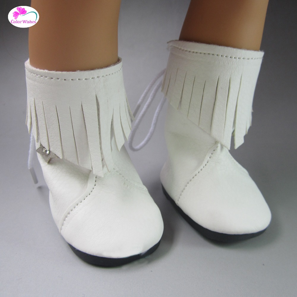 wholesale  White Fashion PU boots shoes for 18 inch 45CM american girl and Zapf baby born doll accessories fashion t shirt tie pants sneakers clothes for dolls 18 inch 45cm american girl and zapf baby born doll accessories
