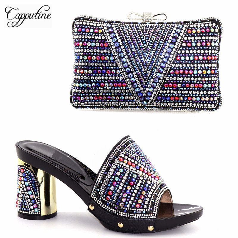 Capputine 2018 New Fashion Rhinestone Female Pumps Shoes And Bag Set African Style High Heels Shoes And Bag Set For Party capputine new arrival fashion shoes and bag set high quality italian style woman high heels shoes and bags set for wedding party