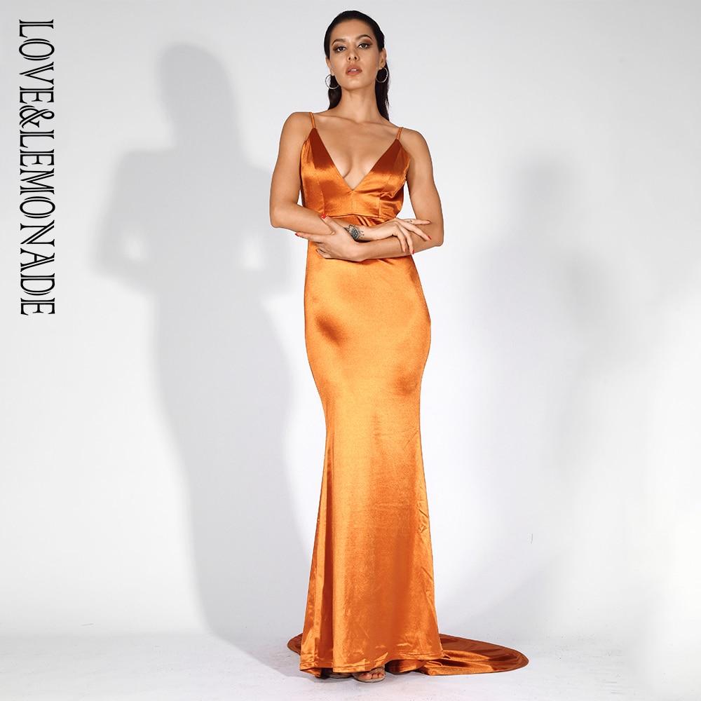 Love&Lemonade Orange Deep V-Neck Open Back Slim Long Dress LM81222